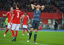 VIENNA, AUSTRIA - Thursday, October 6, 2016: Wales' James Chester looks dejected after missing a chance against Austria during the 2018 FIFA World Cup Qualifying Group D match at the Ernst-Happel-Stadion. (Pic by David Rawcliffe/Propaganda)