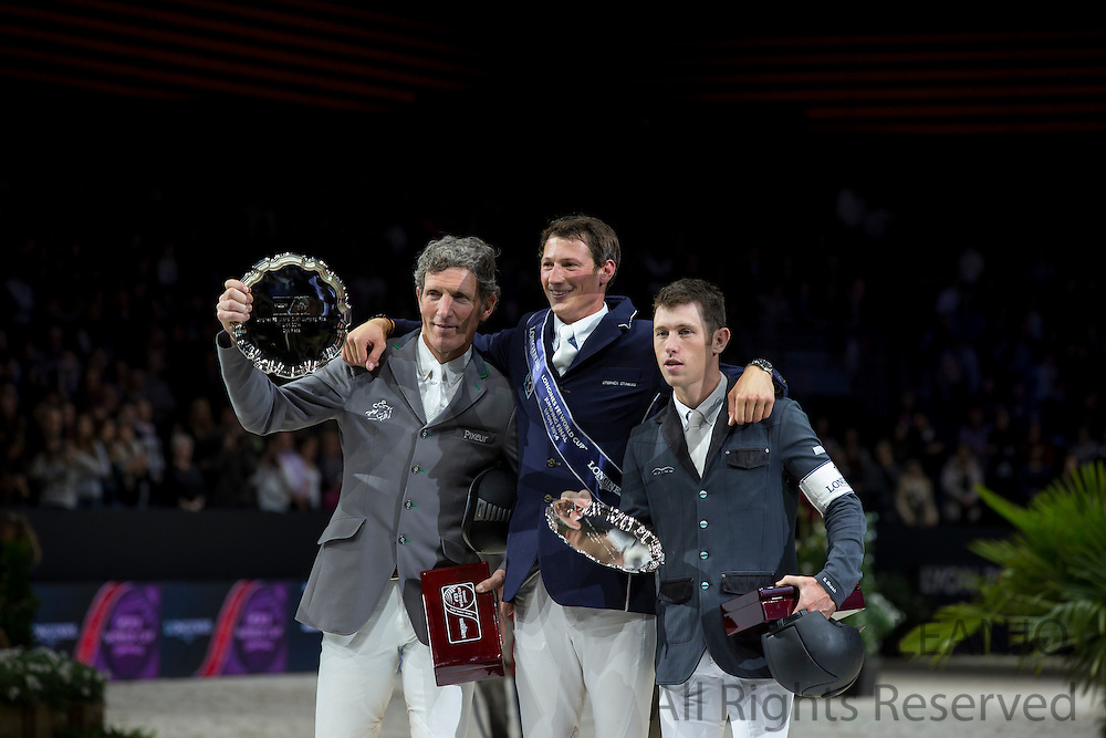 Podium Longines FEI World Cup Final Showjumping 1. Daniel Deusser - Cornet d' Amour. 2. Ludger Beerbaum - Chiara 222, Scott Brash - Ursula XII<br /> FEI World Cup Final 2014<br /> &copy; DigiShots