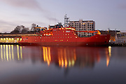 Aurora Australis in dock, Hobart. Mirror water effect.