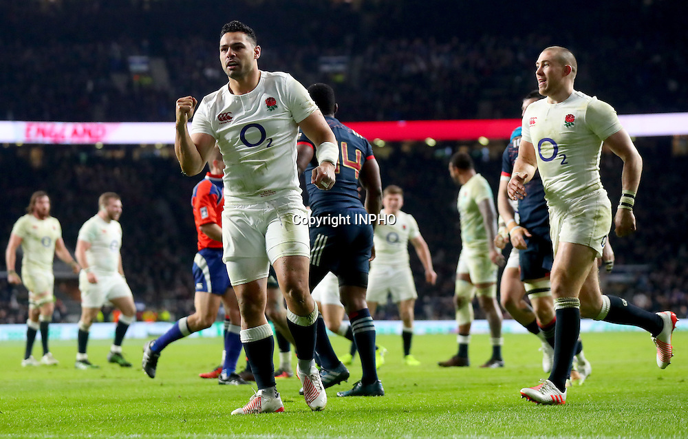 RBS 6 Nations Championship Round 1, Twickenham, London, England 4/2/2017<br /> England vs France<br /> England's Ben Te&rsquo;o celebrates scoring his side's first try<br /> Mandatory Credit &copy;INPHO/James Crombie