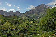 The rugged mountains of Santiago island, Cape Verde (Cabo Verde), lush and green following seasonal rains.