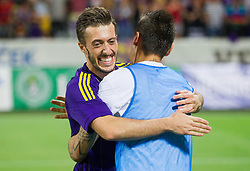Agim Ibraimi #10 of Maribor celebrate after the football match between NK Maribor and APOEL FC, (Cyprus) in Third qualifying round, Second leg of UEFA Champions League 2014, on August 6, 2013 in Stadium Ljudski vrt, Maribor, Slovenia. (Photo by Vid Ponikvar / Sportida.com)