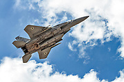"Israeli Air Force (IAF) McDonnell Douglas F-15A in flight.  Photographed at the  ""Blue-Flag"" 2017, an international aerial training exercise hosted by the Israeli Air Force (IAF) at Ouvda airfield, Israel. November 2017"