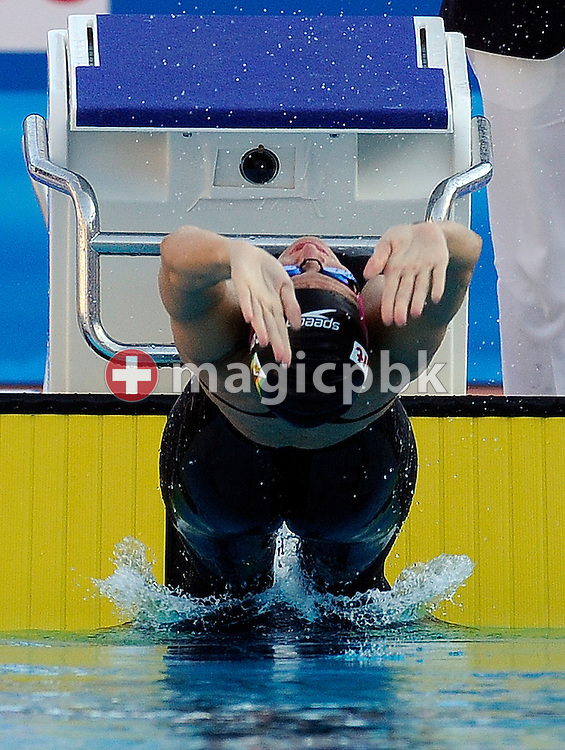 Winner and World Record setter Kirsty COVENTRY of Zimbabwe starts in the women's 100m backstroke final at the 13th FINA World Championships at the Foro Italico complex in Rome, Italy, Saturday, Aug. 1, 2009. (Photo by Patrick B. Kraemer / MAGICPBK)