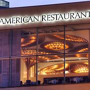 Exterior view of The American Restaurant at dusk, Crown Center, Kansas City, Missouri.