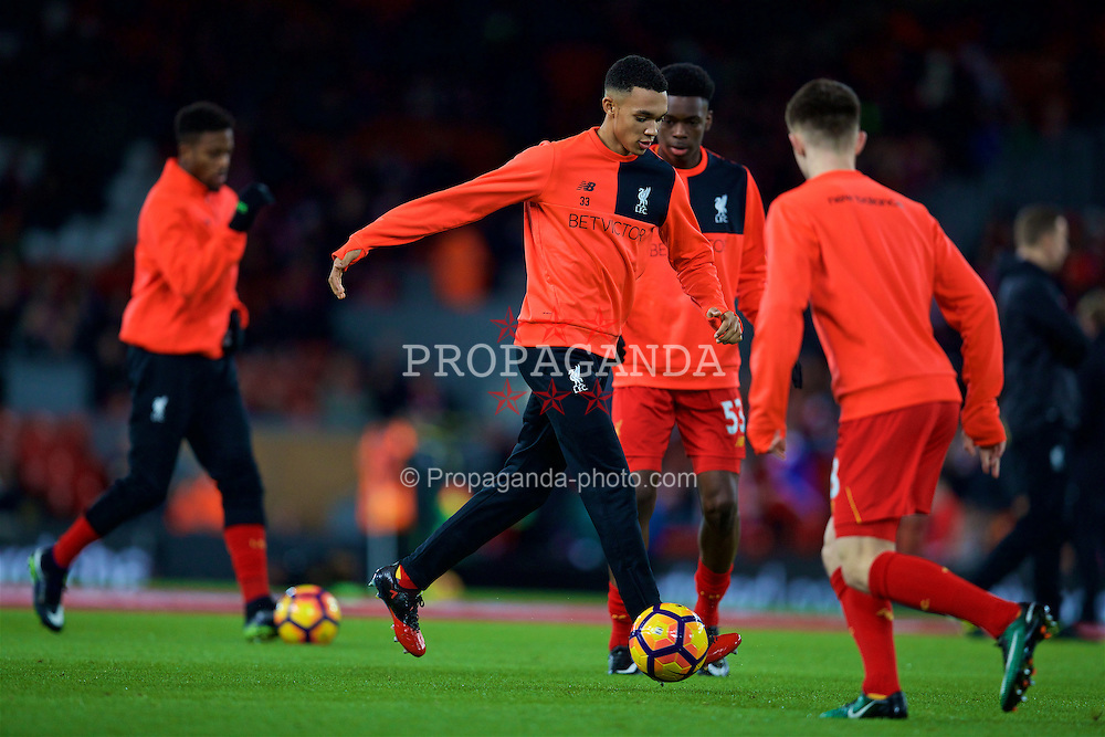 LIVERPOOL, ENGLAND - Saturday, December 31, 2016: Liverpool's Trent Alexander-Arnold warms-up before the FA Premier League match against Manchester City at Anfield. (Pic by David Rawcliffe/Propaganda)