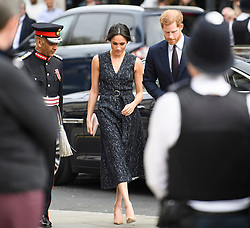 © Licensed to London News Pictures. 23/04/2018. London, UK.  PRINCE HARRY and MEGHAN MARKLE arrive for A service held at St Martin In-The-Fields church in Westminster to mark the 25 anniversary of the death of Stephen Lawrence. 18 year-old Stephen Lawrence was killed in an unprovoked racial attack while he waited at a bus stop in Eltham, South East London in 1993. Photo credit: Ben Cawthra/LNP