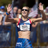Maria Michta-Coffey celebrates after winning in the womens Olympic Trials 20K race walk  in 1:33:41, in Salem, Ore., on Thursday  June 30, 2016.