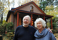 DOYLESTOWN, PA -  NOVEMBER 11: Fritz Martin and Sue Martin stand outside their home November 11, 2013 in Doylestown, Pennsylvania. Two years ago painter Ken Odell (not shown) found bats behind the shutters while working on the house.(Photo by William Thomas Cain/Cain Images)