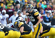 September 24, 2011: Iowa Hawkeyes quarterback James Vandenberg (16) calls a play at the line during the first quarter of the game between the Iowa Hawkeyes and the Louisiana Monroe Warhawks at Kinnick Stadium in Iowa City, Iowa on Saturday, September 24, 2011. Iowa defeated Louisiana Monroe 45-17.