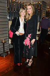 Left to right, CATHERINE WEST and NATASHA McELHONE at a dinner hosted by AA Gill & Nicola Formby in support of the Borne charity held at Rivea at the Bulgari Hotel, Knightsbridge, London on 3rd February 2015.