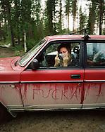 """Lovisa Nyström is visiting Mattias Fransson in Gravmark...090811 - Lovisa Nyström, sångerska i Two White Horses, på besök hos Mattias Fransson i Gravmark. Bilden kom till för att illustrera en facebookstatus Lovisa hade dagarna innan där hon beskrev hur hon hade """"fuckat"""" åt en annan bil, varav en lång diskussionstråd om giltigheten i begreppet """"att fucka"""" uppstod."""