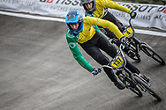 #137 during practice at the 2018 UCI BMX World Championships in Baku, Azerbaijan.