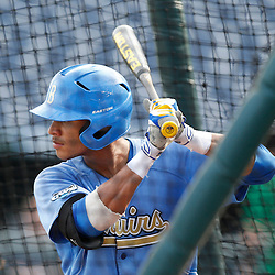 Jun 24, 2013; Omaha, NE, USA; UCLA Bruins designated hitter Kevin Williams (5) bats in the batting cage before game 1 of the College World Series finals against the Mississippi State Bulldogs at TD Ameritrade Park. Mandatory Credit: Derick E. Hingle-USA TODAY Sports