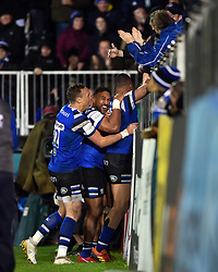 Joe Cokanasiga of Bath Rugby celebrates his second half try with the crowd and his team-mates - Mandatory byline: Patrick Khachfe/JMP - 07966 386802 - 02/12/2018 - RUGBY UNION - The Recreation Ground - London, England - Bath Rugby v Sale Sharks - Gallagher Premiership Rugby