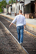 Walking along the Train Tracks at the Depot in San Juan Capistrano California