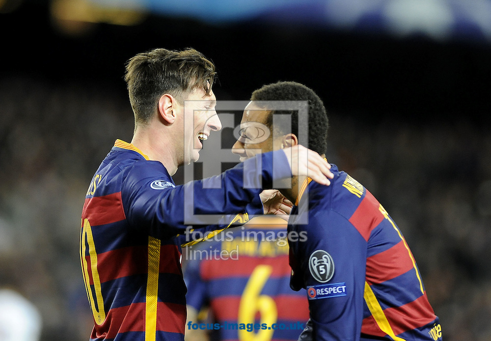 Lionel Messi of FC Barcelona celebrates scoring his second goal with Neymar during the UEFA Champions League match at Camp Nou, Barcelona<br /> Picture by Stefano Gnech/Focus Images Ltd +39 333 1641678<br /> 24/11/2015