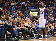 Mar. 1, 2013; Phoenix, AZ, USA; Phoenix Suns center Jermaine O'Neal (20) jokes with fans in the front row in the game against the Atlanta Hawks at US Airways Center. The Suns defeated the Hawks 92-87. Mandatory Credit: Jennifer Stewart-USA TODAY Sports