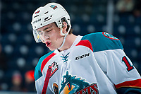 KELOWNA, CANADA - FEBRUARY 23: Kole Lind #16 of the Kelowna Rockets sings on the ice during warm up against the Seattle Thunderbirds  on February 23, 2018 at Prospera Place in Kelowna, British Columbia, Canada.  (Photo by Marissa Baecker/Shoot the Breeze)  *** Local Caption ***