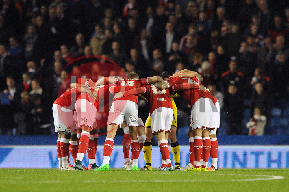 Bristol City players huddle before the game - Mandatory byline: Dougie Allward/JMP - 07966 386802 - 20/10/2015 - FOOTBALL - American Express Community Stadium - Brighton, England - Brighton v Bristol City - Sky Bet Championship