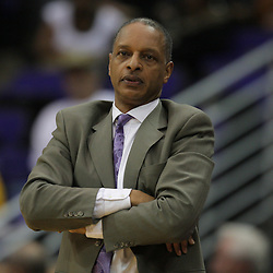 Jan 09, 2010; Baton Rouge, LA, USA; LSU Tigers head coach Trent Johnson watches his team against the Alabama Crimson Tide during the second half at the Pete Maravich Assembly Center. Alabama defeated LSU 66-49.  Mandatory Credit: Derick E. Hingle-US PRESSWIRE