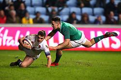 Ben White of England U20 scores a try - Mandatory by-line: Robbie Stephenson/JMP - 16/03/2018 - RUGBY - Ricoh Arena - Coventry, England - England U20 v Ireland U20 - Six Nations U20