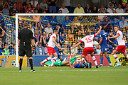 Rotherham United defender Clark Robertson (15) celebrating after scoring goal to make it 1-2 during the EFL Sky Bet League 1 match between AFC Wimbledon and Rotherham United at the Cherry Red Records Stadium, Kingston, England on 3 August 2019.