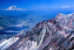 Mt. Rainier from the Summit of Mt. St. Helens, Mt. St. Helens National Volcanic Monument, Washington, US