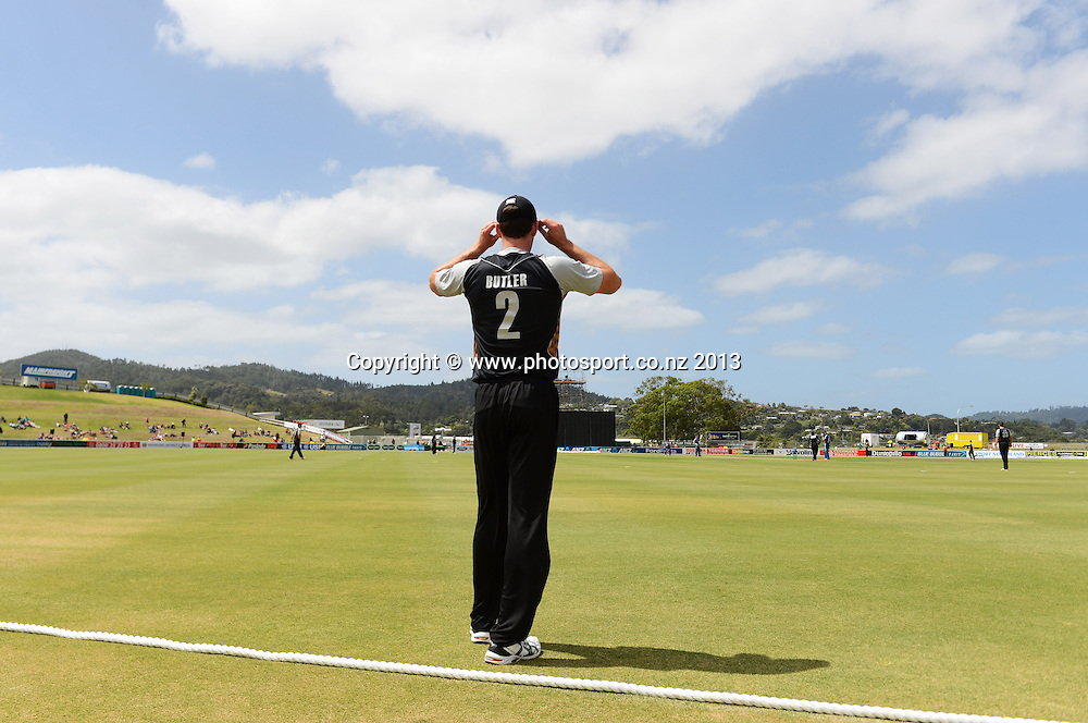 Ian Butler in the out field. Twenty20 Cricket. England v NZ XI. England Cricket tour to New Zealand. Cobham Oval. Whangarei, New Zealand on Tuesday 5 February 2013. Photo: Andrew Cornaga/Photosport.co.nz