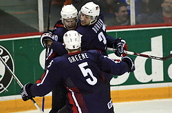 U.S. Team celebrates (Matt Greene (5), Drew Stafford (19) and Mark Burish (37)) at play-off round quarterfinals ice-hockey game USA  vs Finland at IIHF WC 2008 in Halifax,  on May 14, 2008 in Metro Center, Halifax, Nova Scotia,Canada. Win of Finland 3 : 2. (Photo by Vid Ponikvar / Sportal Images)