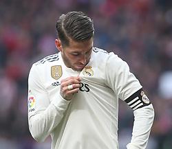 February 9, 2019 - Madrid, Spain - Sergio Ramos of Real Madrid during the La Liga match between Club Atletico de Madrid and Real Madrid CF at Wanda Metropolitano on February 09, 2019 in Madrid, Spain. (Credit Image: © Raddad Jebarah/NurPhoto via ZUMA Press)