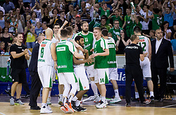 Brandon Jefferson #13 of KK Union Olimpija and other players celebrate during basketball match between KK Union Olimpija and KK Rogaska in 2nd Final game of Liga Nova KBM za prvaka 2016/17, on May 19, 2017 in Hala Tivoli, Ljubljana, Slovenia. Photo by Vid Ponikvar / Sportida