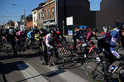 Peloton loop around Quaregnon at Le Samyn des Dames 2018 - a 103 km road race on February 27, 2018, from Quaregnon to Dour, Belgium. (Photo by Sean Robinson/Velofocus.com)