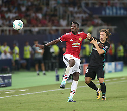 August 8, 2017 - Skopje, Macedonia - Paul Pogba of Manchester United in action with Luca Modric of Real Madrid during the UEFA Super Cup match between Real Madrid and Manchester United at Philip II Arena on August 8, 2017 in Skopje, Macedonia. (Credit Image: © Raddad Jebarah/NurPhoto via ZUMA Press)