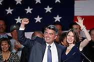 Republican Cory Gardner waves with his wife Jamie after winning the U.S. Senate race in Colorado in the U.S. midterm elections in Denver, Colorado, November 4, 2014.  REUTERS/Rick Wilking (UNITED STATES)