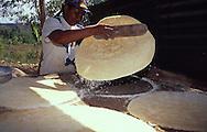 Preparación del casabe. Se coloca el casabe sobre una plancha caliente, llamada Budare, tratando de formar círculos de unos 3 mm de espesor. Luego se deja dorar por ambos lados. 1996. (Ramón Lepage / Orinoquiaphoto)  Preparation of the casabe. The casabe is placed on a warm grill, called Budare, treating to form circles of approximately 3 mm of thickness. Then the casabe is left to gild for both sides. 1996. (Ramon Lepage / Orinoquiaphoto)