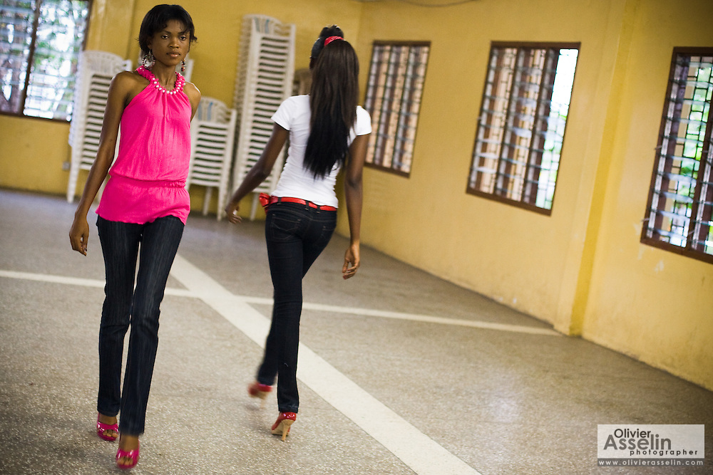 Matilda Mikekpor (left), 23, and Nana Yaa Adadewa Addo, 24, practice their catwalk during a rehearsal in Ghana's capital Accra on Thursday May 21, 2009. Nana Yaa and Matilda both auditioned for the upcoming television show West Africa's Next Top Model, the latest incarnation of Tyra Banks' America's Next Top Model.