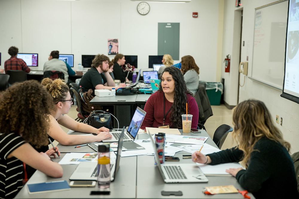 Kutztown University students, faculty, and alumni take part in the 12th annual Communication Design Department Designation at Kutztown University on, Friday, March 24, 2017.