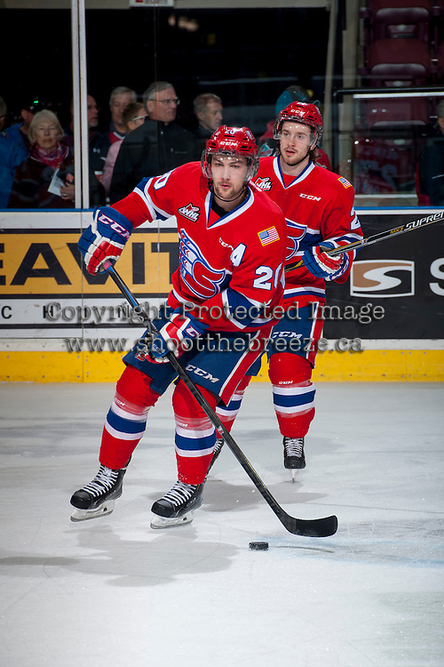 KELOWNA, CANADA - MARCH 7: Calder Brooks #20 of Spokane Chiefs warms up against the Kelowna Rockets on March 7, 2015 at Prospera Place in Kelowna, British Columbia, Canada.  (Photo by Marissa Baecker/Shoot the Breeze)  *** Local Caption *** Calder Brooks;