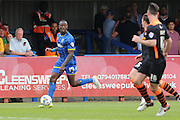 Ade Azeez forward for AFC Wimbledon (14) in action during Sky Bet League 2 match between AFC Wimbledon and Newport County at the Cherry Red Records Stadium, Kingston, England on 7 May 2016. Photo by Stuart Butcher.