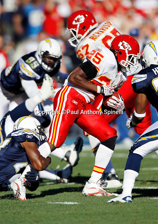 Kansas City Chiefs running back Jamaal Charles (25) runs the ball during the NFL week 14 football game against the San Diego Chargers on Sunday, December 12, 2010 in San Diego, California. The Chargers won the game 31-0. (©Paul Anthony Spinelli)