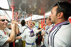 Real Madrid's Fans at Metro M1 singing prior to the football match between Real Madrid (ESP) and Atlético Madrid (ESP) in Final of UEFA Champions League, on May 28, 2016 in Doumo, Milan, Italy. Photo by Vid Ponikvar / Sportida