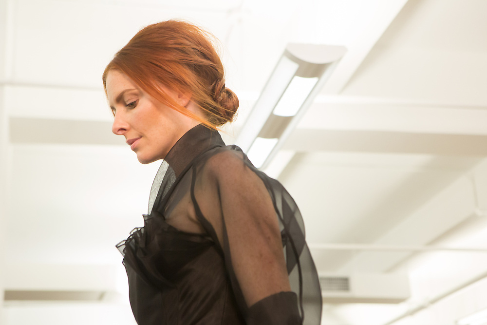 A model in the finale of the Carmen Marc Valvo show at Spring 2013 Fashion Week in New York.