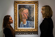 "Amedeo Modigliani (1884-1920), Portrait de Béatrice Hastings, 1916 (est $7-10million) -  Preview of almost fifty works from Christie's spring sales in New York of Impressionist, Modern, Post-War And Contemporary Art. The most expensive work is Les femmes d'Alger (Version ""O""), 1955, by Pablo Picasso (1881-1973), estimate $140million. Other highlights include: Pablo Picasso (1881-1973), Femme à la résille, 1938 (est $55 million); Mark Rothko (1903 -1970), No. 36 (Black Stripe), 1958 (est: $30-50 million); Andy Warhol (1928-1987), Colored Mona Lisa, 1963 (est $40 million); Claude Monet (1840-1926), Le Parlement, soleil couchant, 1902 (est: $35-45 million); Jean Dubuffet, Paris Polka, 1961 (est $25 million); Piet Mondrian (1872-1944), Composition No.III (Composition with Red, Blue, Yellow and Black), 1929 (est: $15-25million); and Amedeo Modigliani (1884-1920), Portrait de Béatrice Hastings, 1916 (est $7-10million) from the Collection of John C. Whitehead. The works will be on view to the public from 11 to 16 April at Christie's King Street, London."