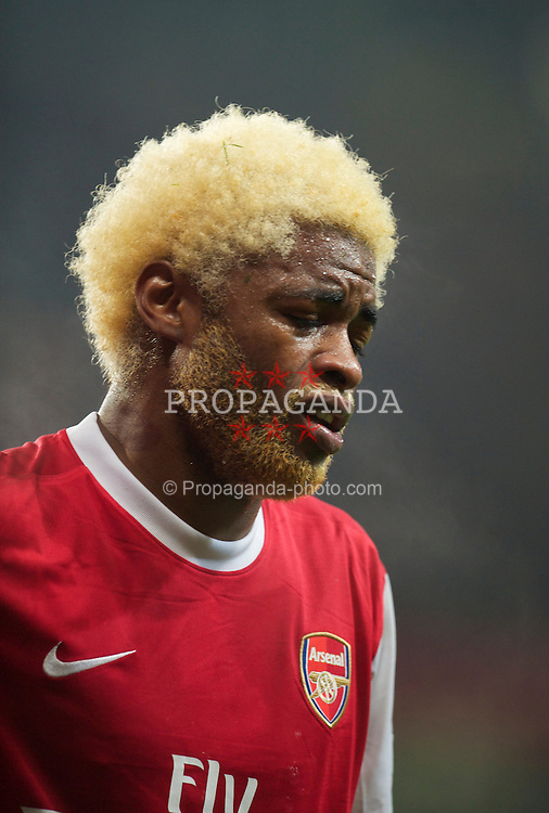 LONDON, ENGLAND - Tuesday, February 1, 2011: Arsenal's Alexandre Song Billong goes off injured during the Premiership match against Everton at the Emirates Stadium. (Photo by David Rawcliffe/Propaganda)