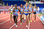 Habitam Alemu (ETH) defeats Lynsey Sharp (GBR) to win the women's 800m, 1:59.60 to 1:59.97, during the Grand Prix Birmingham in an IAAF Diamond League meet at Alexander Stadium in Birmingham, United Kingdom on Sunday, August 20, 2017. (Jiro Mochizuki/Image of Sport)