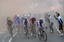 March 18, 2017 - San Remo, Italie - SANREMO, ITALY - MARCH 18 : VERMOTE Julien (BEL) Rider of Quick-Step Floors Cycling team leading the pack before ALAPHILIPPE Julian (FRA) Rider of Quick-Step Floors Cycling team during the UCI WorldTour 108th Milan - Sanremo cycling race with start in Milan and finish at the Via Roma in Sanremo on March 18, 2017 in Sanremo, Italy, 18/03/2017 (Credit Image: © Panoramic via ZUMA Press)