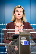 Federica Mogherini, Vice-President of the Commission,  and Commissioner Johannes Hahn receives Prime Minister Arseni Yatsenyuk ahead the European Council.