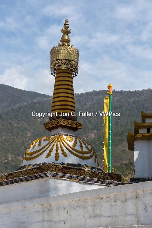 A Nepalese-style stupa in Punakha, Bhutan.
