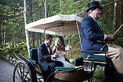 Ariana Rockefeller and Matthew Bucklin exit their wedding ceremony by horse drawn carriage on Mount Desert Island, Maine, Saturday, September 4, 2010.  Craig Dilger for The New York Times